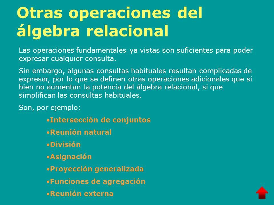 Otras operaciones del álgebra relacional