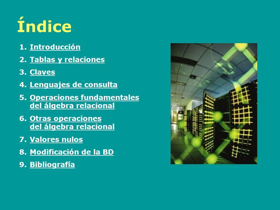 Índice Introducción Tablas y relaciones Claves Lenguajes de consulta