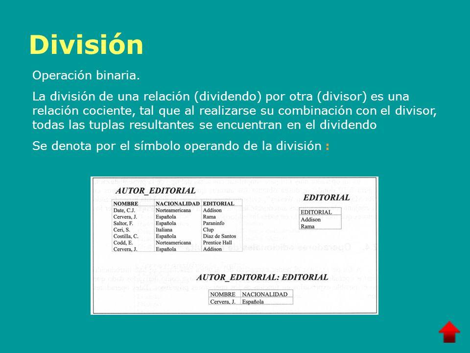 División Operación binaria.