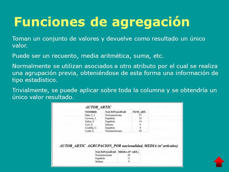 Funciones de agregación