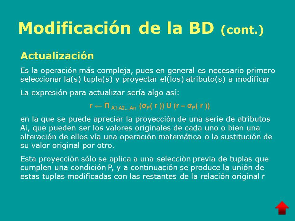 Modificación de la BD (cont.)