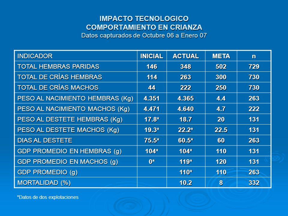 IMPACTO TECNOLOGICO COMPORTAMIENTO EN CRIANZA Datos capturados de Octubre 06 a Enero 07