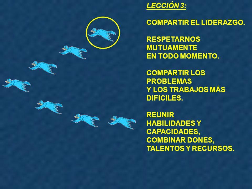 LECCIÓN 3: COMPARTIR EL LIDERAZGO. RESPETARNOS MUTUAMENTE. EN TODO MOMENTO. COMPARTIR LOS PROBLEMAS.