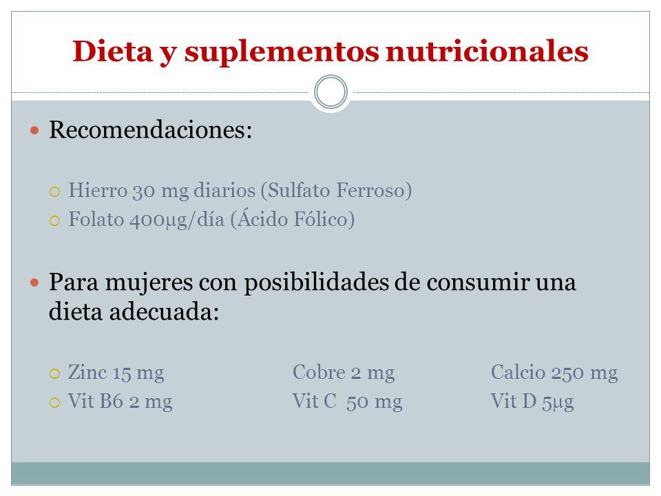 Dieta y suplementos nutricionales