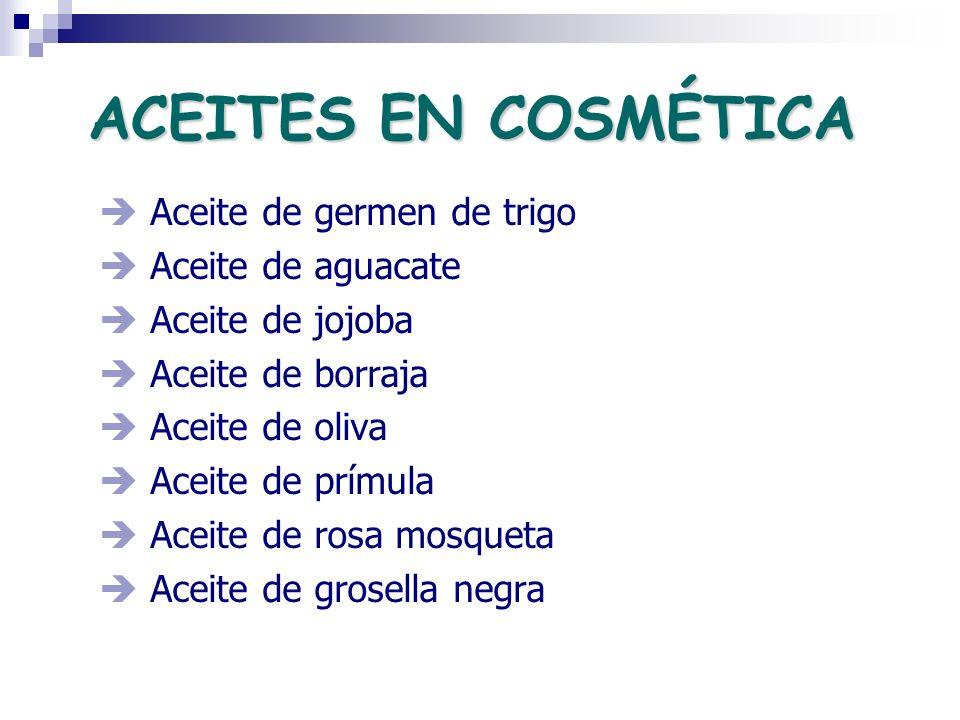 ACEITES EN COSMÉTICA  Aceite de germen de trigo  Aceite de aguacate