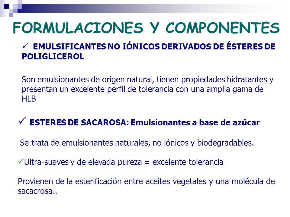 FORMULACIONES Y COMPONENTES