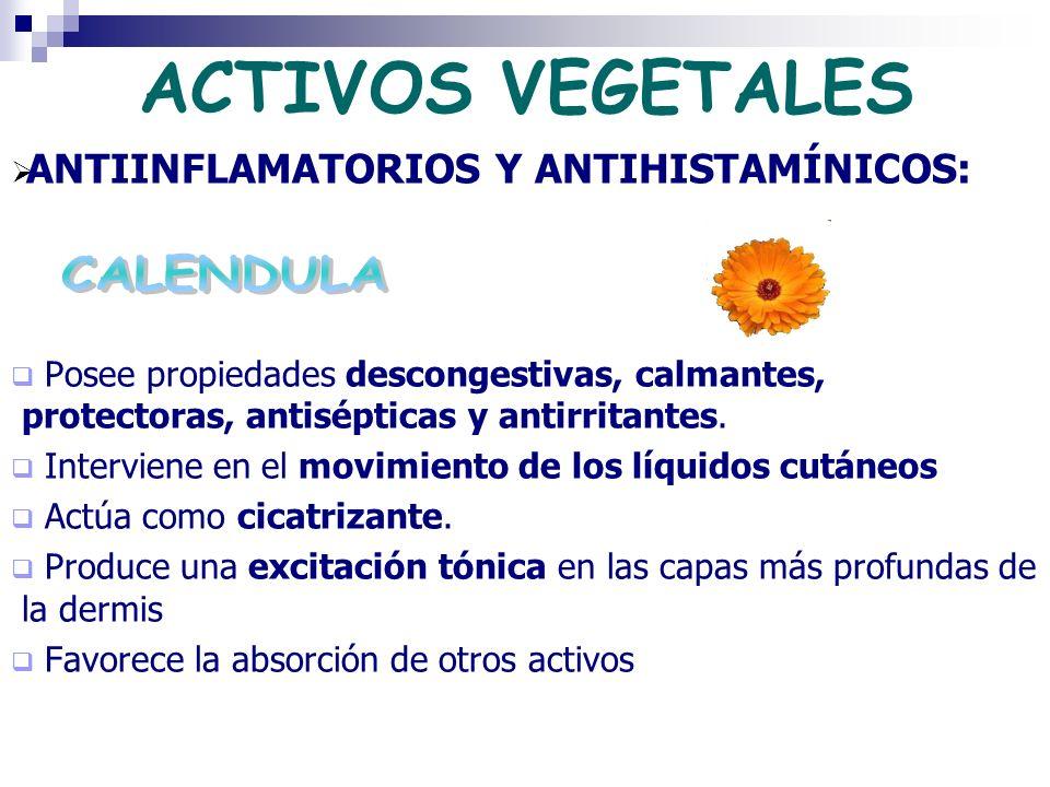 ACTIVOS VEGETALES CALENDULA ANTIINFLAMATORIOS Y ANTIHISTAMÍNICOS: