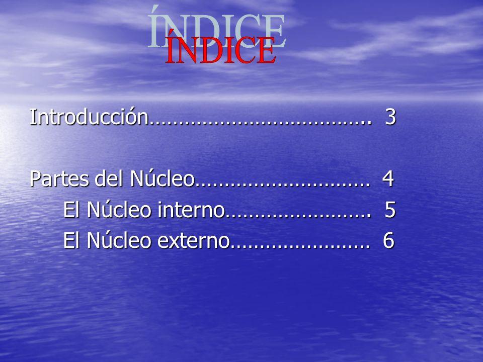 ÍNDICE Introducción……………………………….. 3 Partes del Núcleo………………………… 4