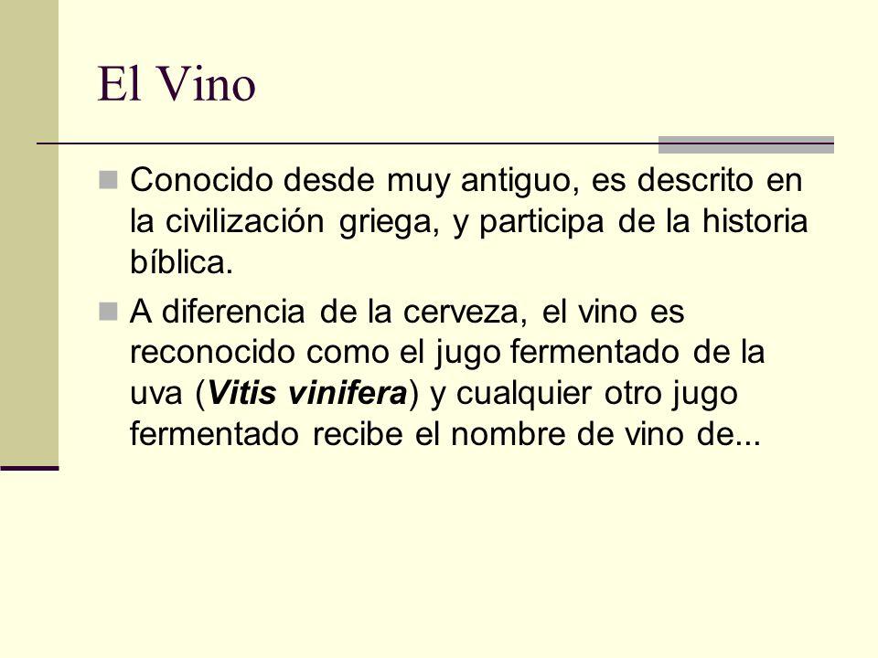 El VinoConocido desde muy antiguo, es descrito en la civilización griega, y participa de la historia bíblica.