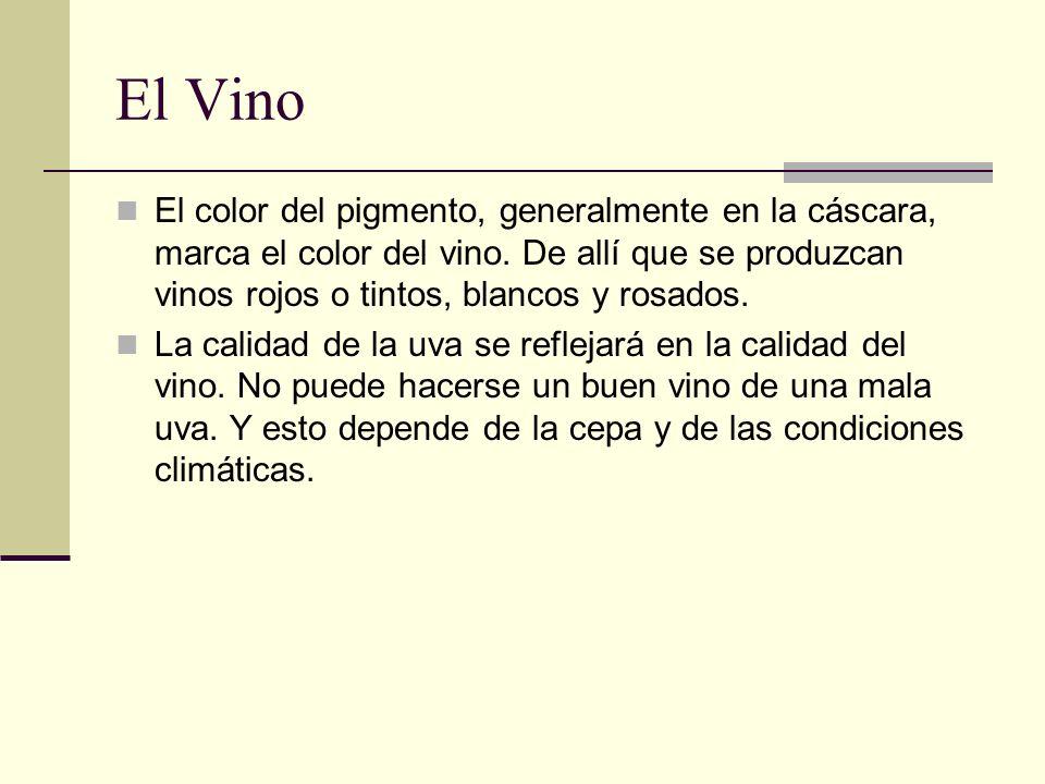 El VinoEl color del pigmento, generalmente en la cáscara, marca el color del vino. De allí que se produzcan vinos rojos o tintos, blancos y rosados.