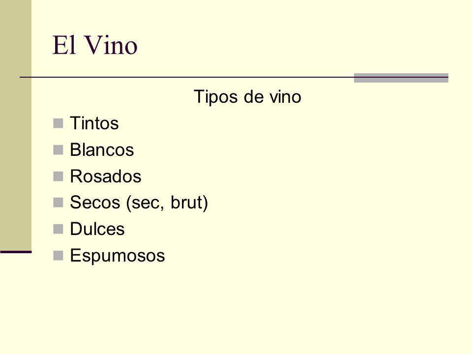 El Vino Tipos de vino Tintos Blancos Rosados Secos (sec, brut) Dulces