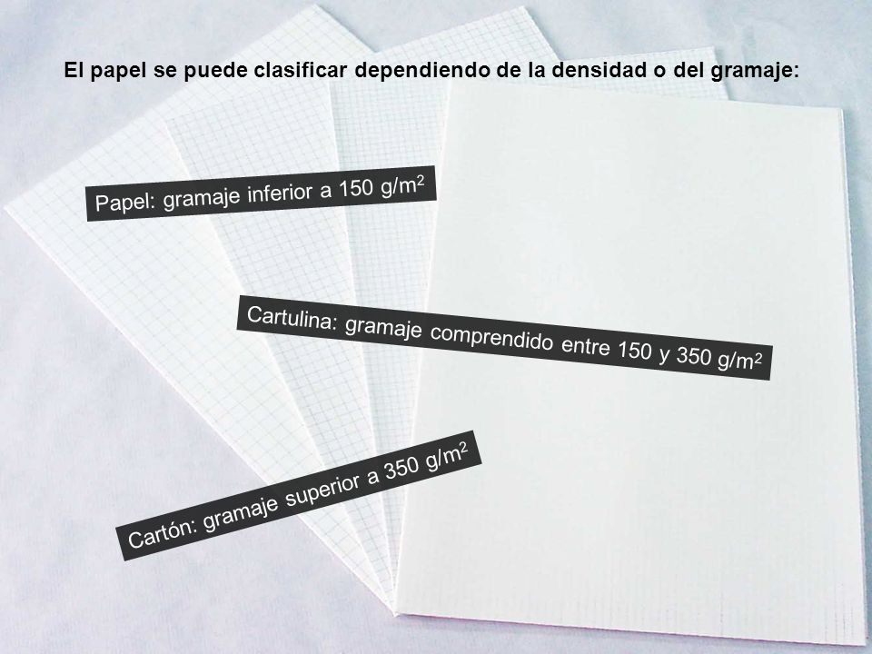 El papel se puede clasificar dependiendo de la densidad o del gramaje: