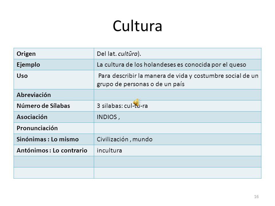 Cultura Origen Del lat. cultūra). Ejemplo