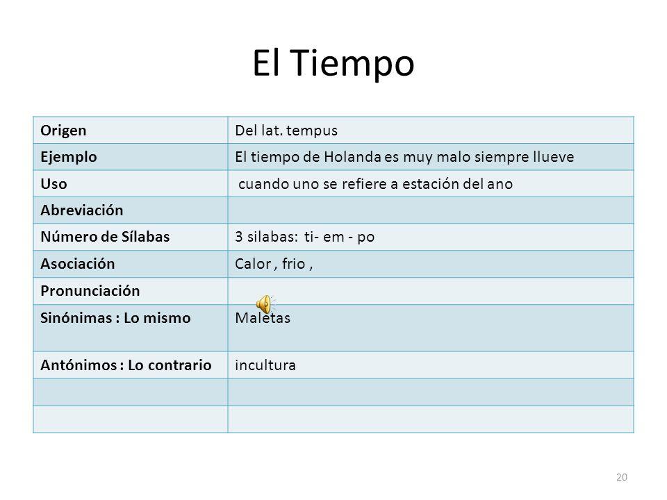 El Tiempo Origen Del lat. tempus Ejemplo