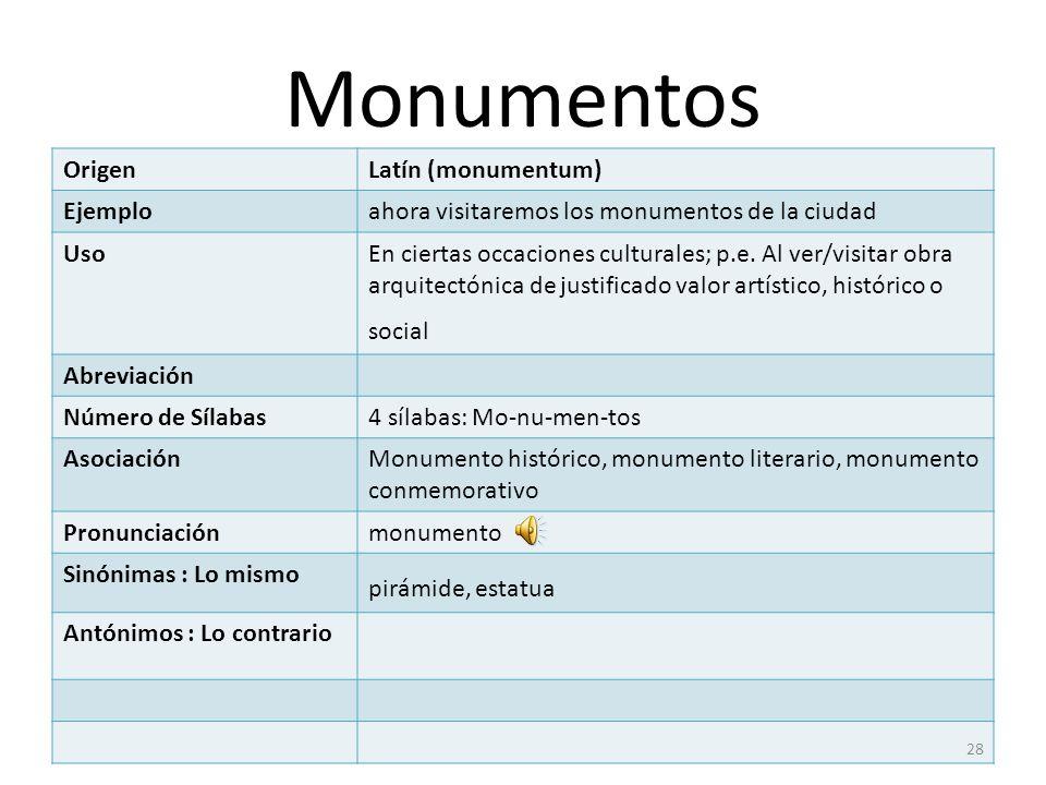 Monumentos Origen Latín (monumentum) Ejemplo