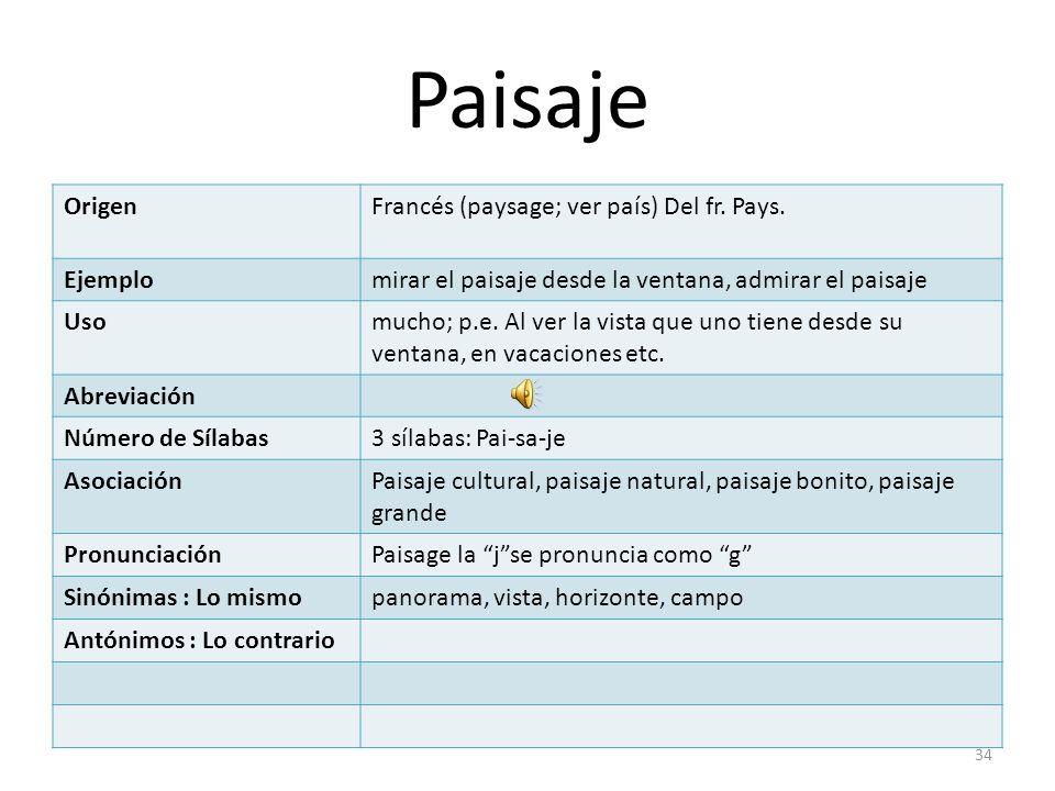 Paisaje Origen Francés (paysage; ver país) Del fr. Pays. Ejemplo