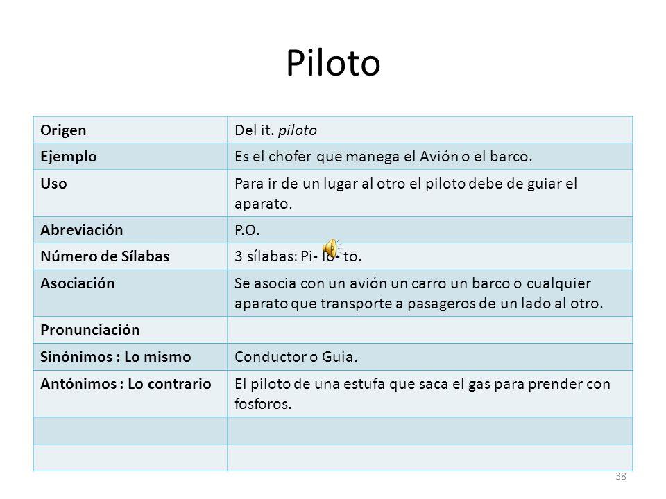Piloto Origen Del it. piloto Ejemplo