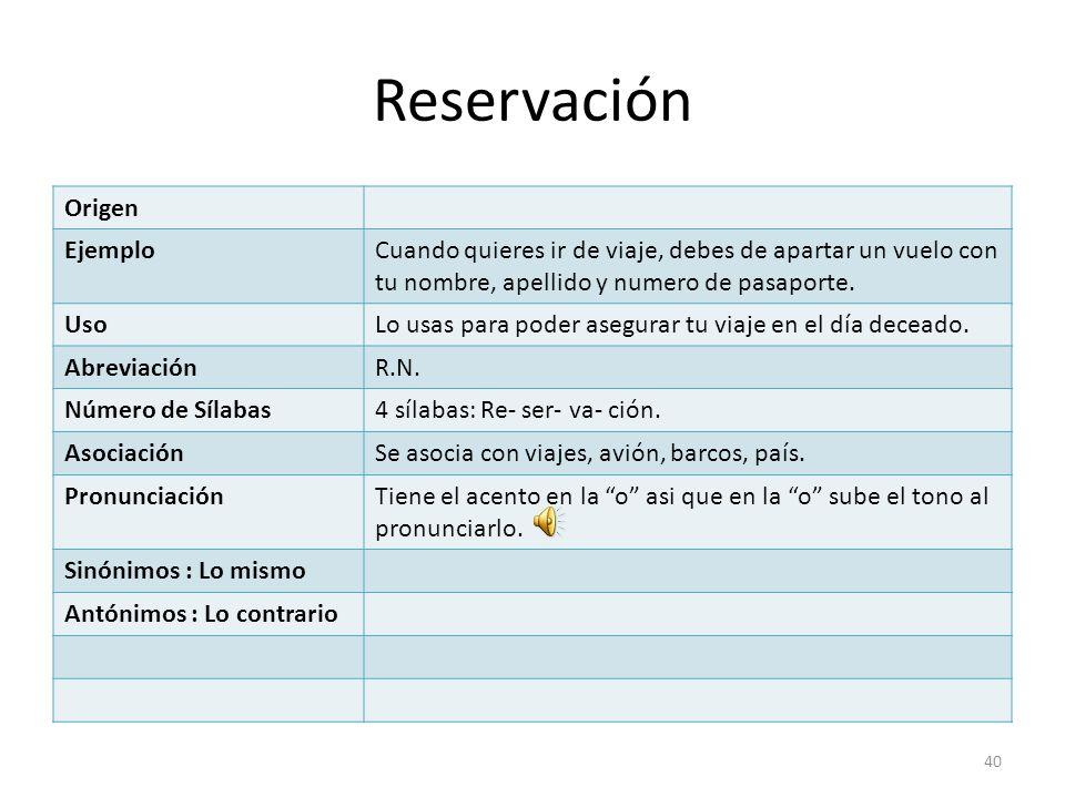 Reservación Origen Ejemplo