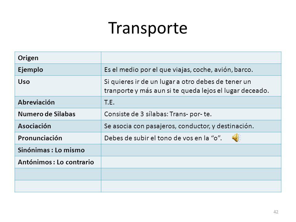 Transporte Origen Ejemplo