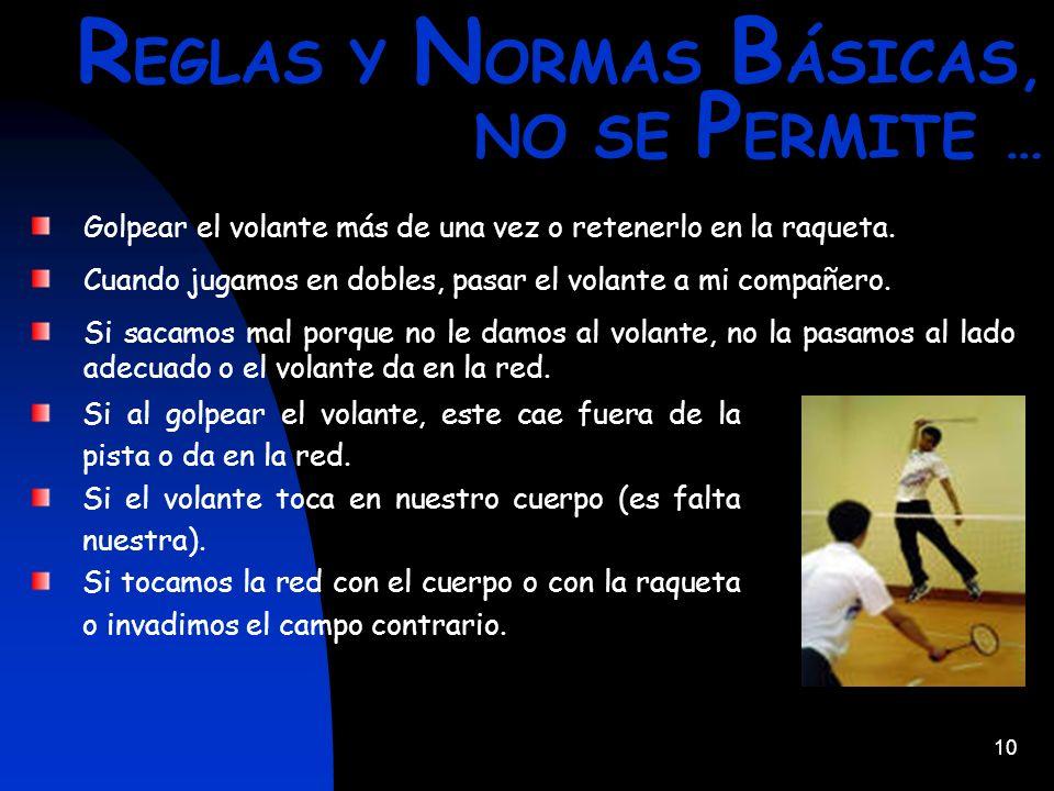 REGLAS Y NORMAS BÁSICAS, NO SE PERMITE …