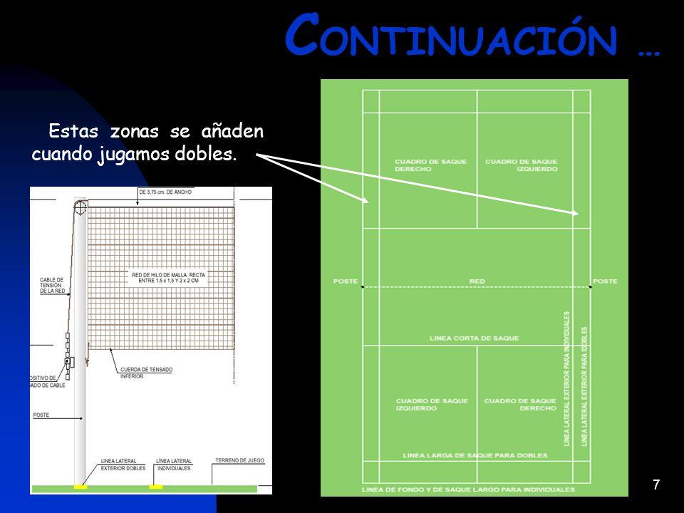 CONTINUACIÓN … Estas zonas se añaden cuando jugamos dobles.