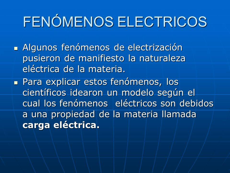 FENÓMENOS ELECTRICOS Algunos fenómenos de electrización pusieron de manifiesto la naturaleza eléctrica de la materia.