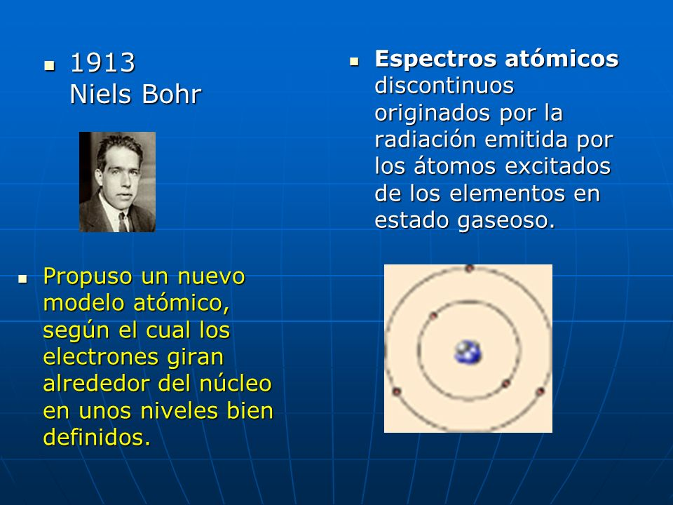 1913 Niels Bohr Espectros atómicos discontinuos originados por la radiación emitida por los átomos excitados de los elementos en estado gaseoso.