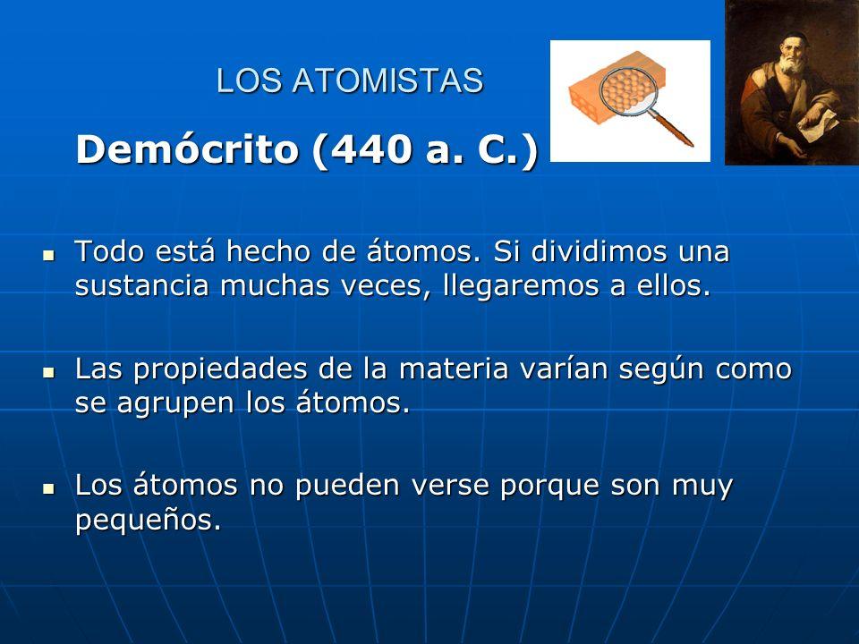 Demócrito (440 a. C.) LOS ATOMISTAS