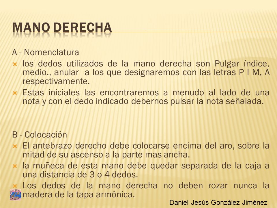 MANO DERECHA A - Nomenclatura