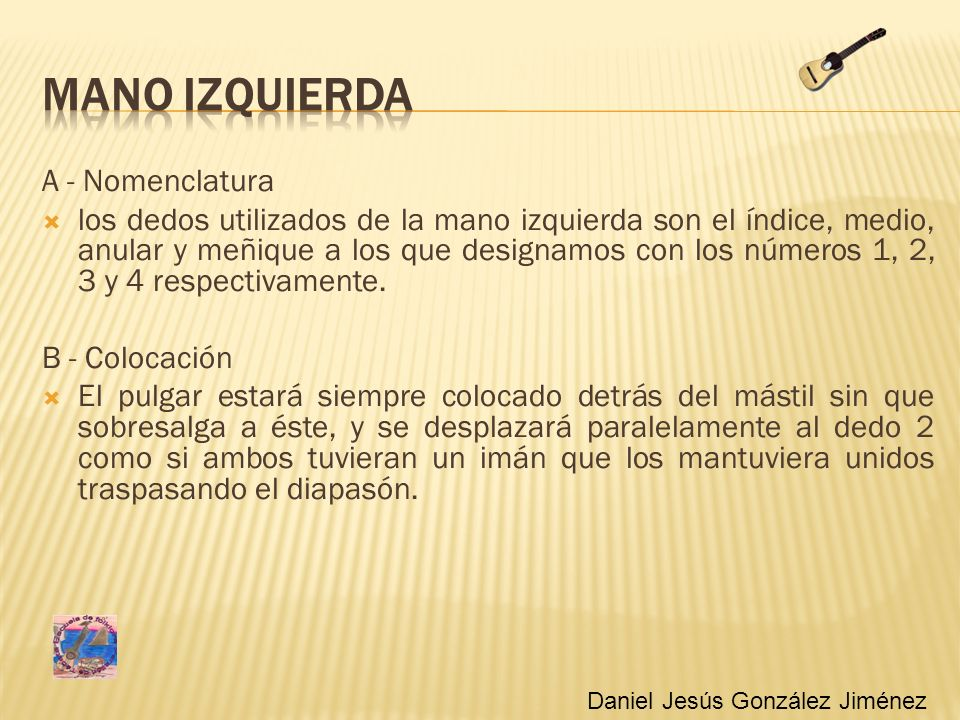 MANO IZQUIERDA A - Nomenclatura