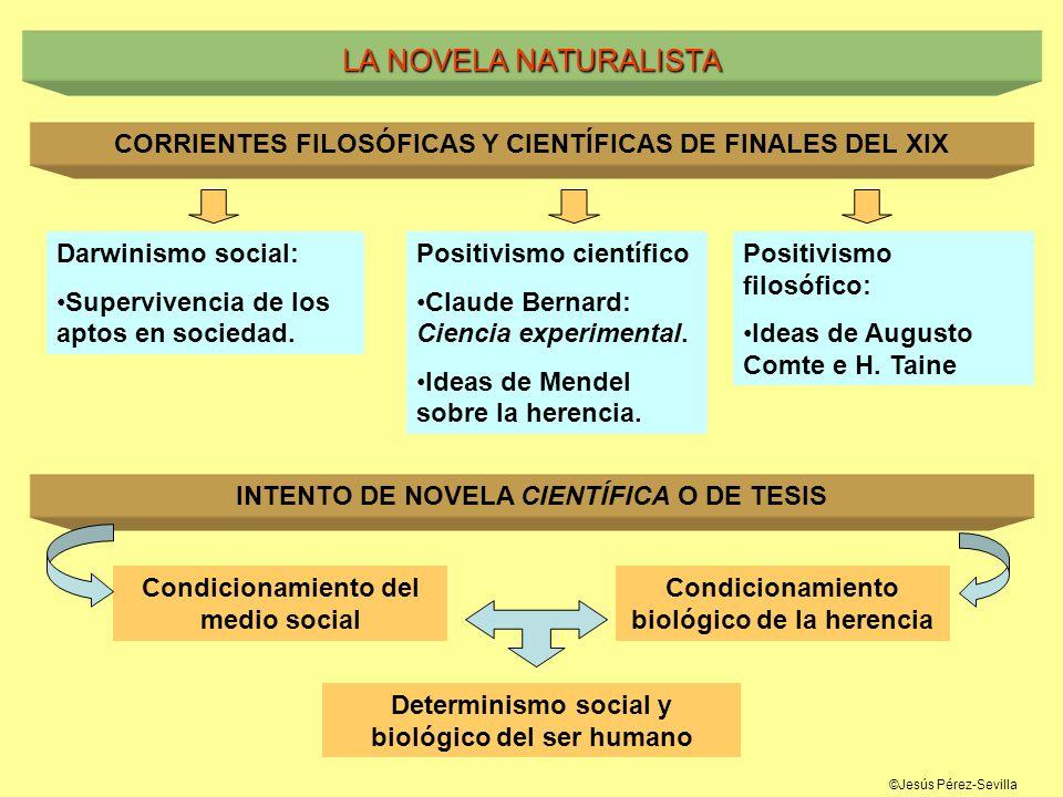 LA NOVELA NATURALISTACORRIENTES FILOSÓFICAS Y CIENTÍFICAS DE FINALES DEL XIX. Darwinismo social: Supervivencia de los aptos en sociedad.