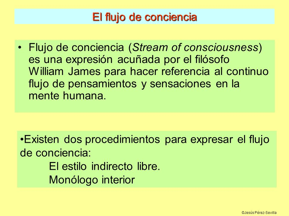 Existen dos procedimientos para expresar el flujo de conciencia: