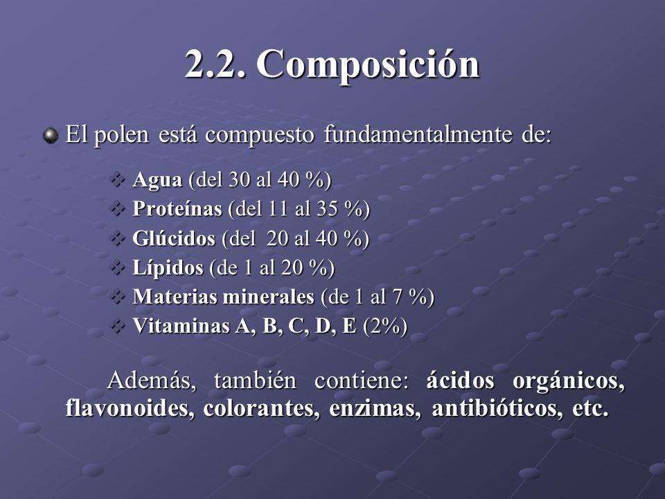 2.2. Composición El polen está compuesto fundamentalmente de: