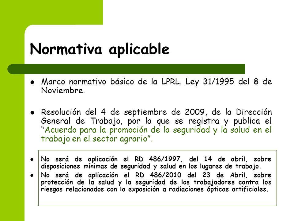 Normativa aplicableMarco normativo básico de la LPRL. Ley 31/1995 del 8 de Noviembre.