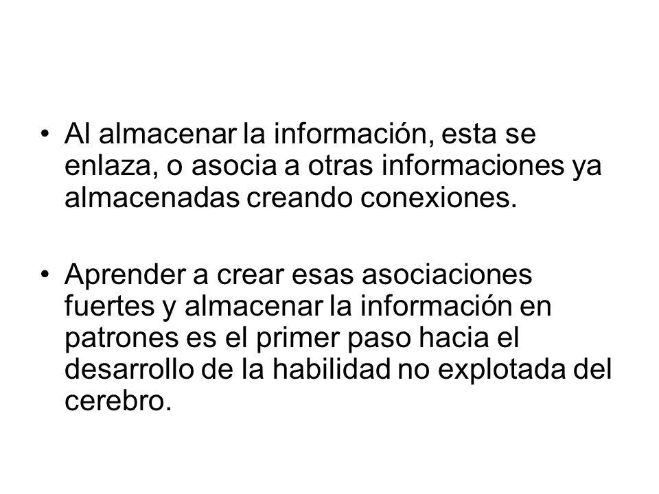 Al almacenar la información, esta se enlaza, o asocia a otras informaciones ya almacenadas creando conexiones.