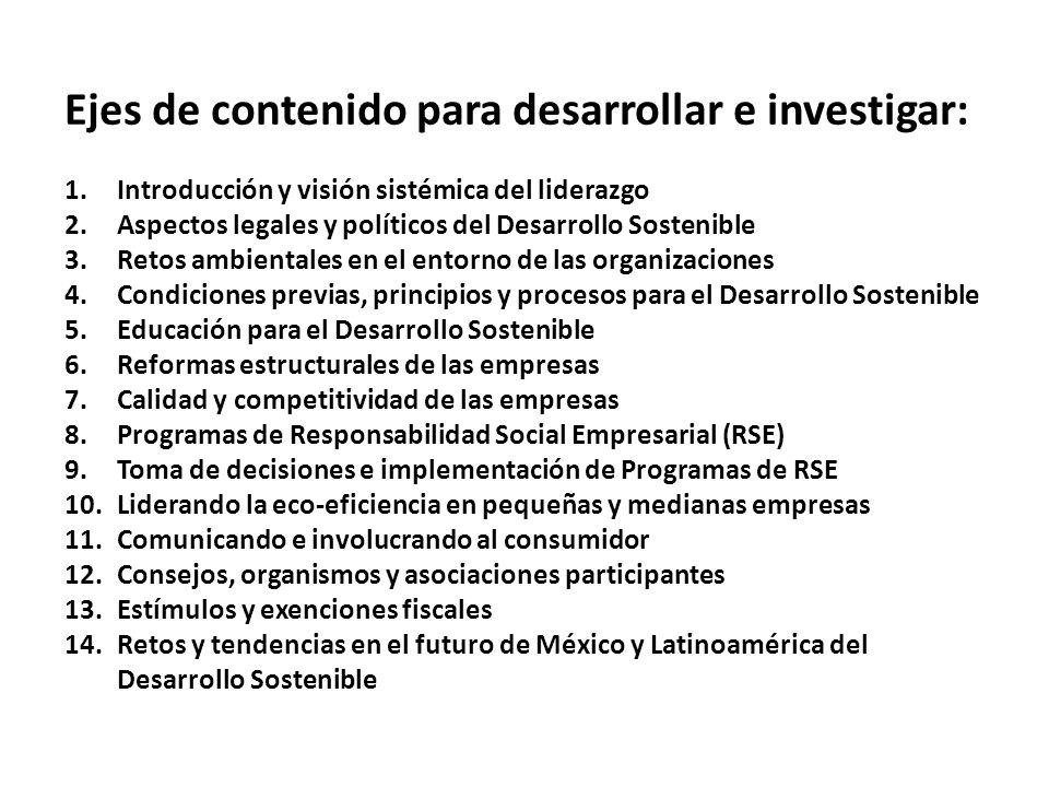 Ejes de contenido para desarrollar e investigar: