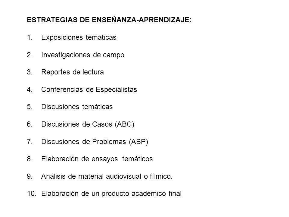 ESTRATEGIAS DE ENSEÑANZA-APRENDIZAJE: