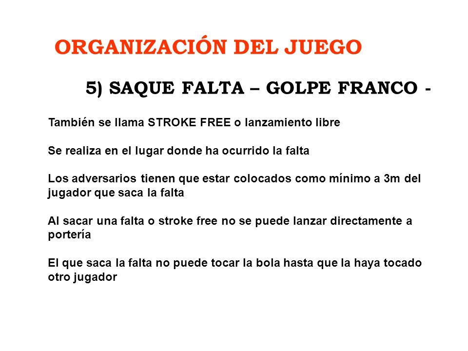 ORGANIZACIÓN DEL JUEGO 5) SAQUE FALTA – GOLPE FRANCO -