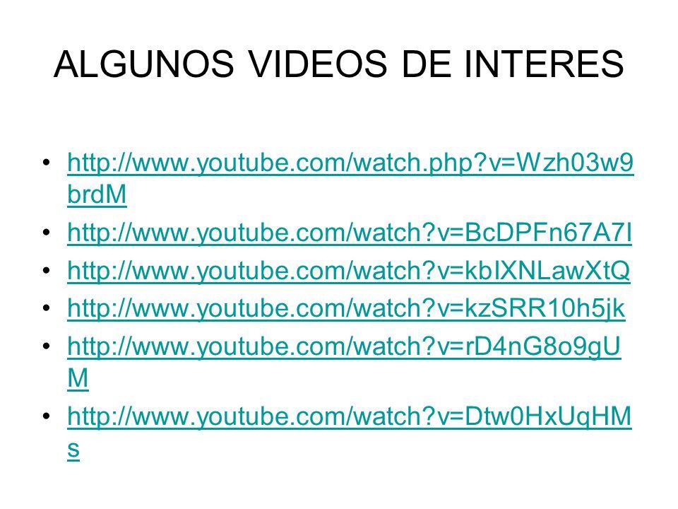 ALGUNOS VIDEOS DE INTERES