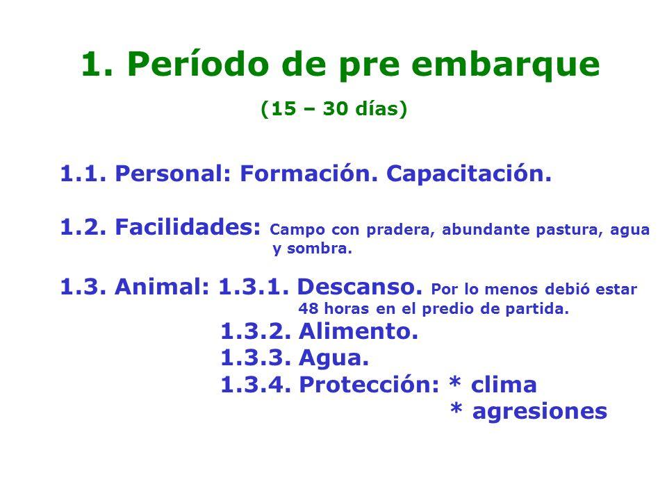 Período de pre embarque (15 – 30 días)