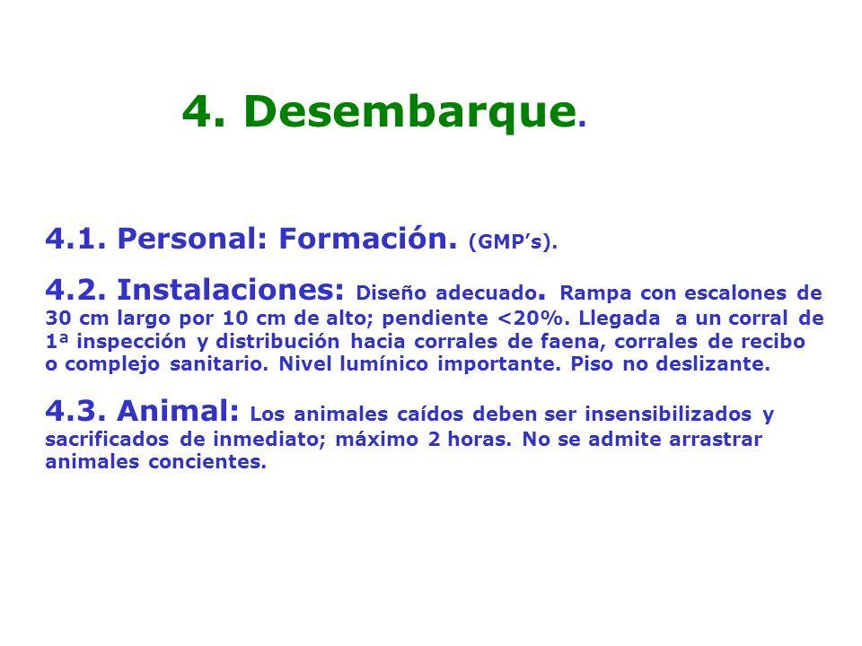 4. Desembarque. 4.1. Personal: Formación. (GMP's).