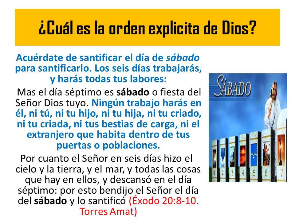 ¿Cuál es la orden explicita de Dios