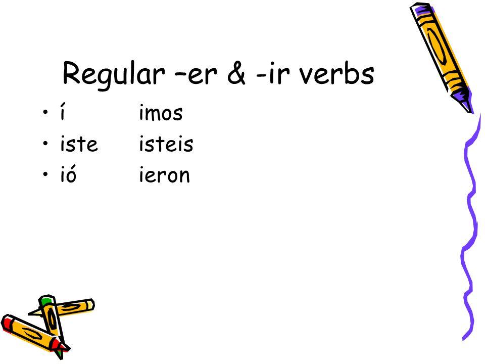 Regular –er & -ir verbs í imos iste isteis ió ieron