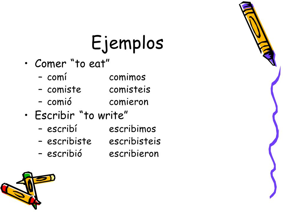 Ejemplos Comer to eat Escribir to write comí comimos