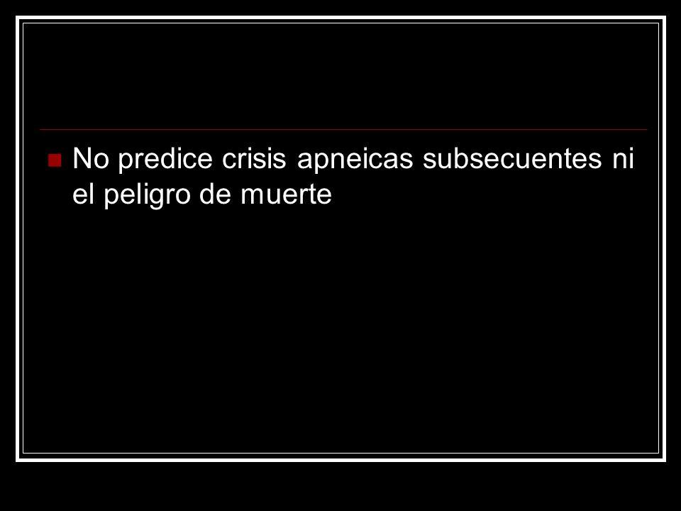 No predice crisis apneicas subsecuentes ni el peligro de muerte
