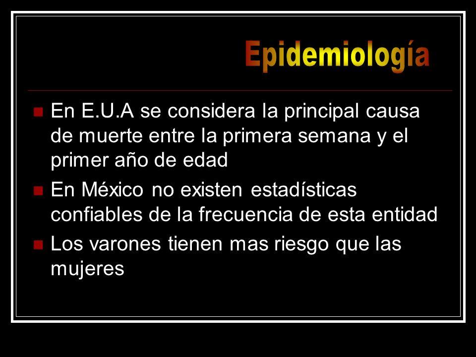 EpidemiologíaEn E.U.A se considera la principal causa de muerte entre la primera semana y el primer año de edad.