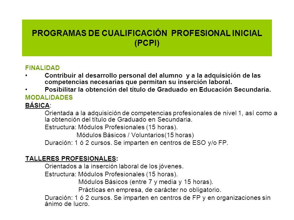 PROGRAMAS DE CUALIFICACIÓN PROFESIONAL INICIAL (PCPI)
