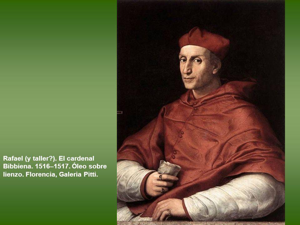 Rafael (y taller ). El cardenal Bibbiena. 1516–1517. Óleo sobre lienzo. Florencia, Galeria Pitti.