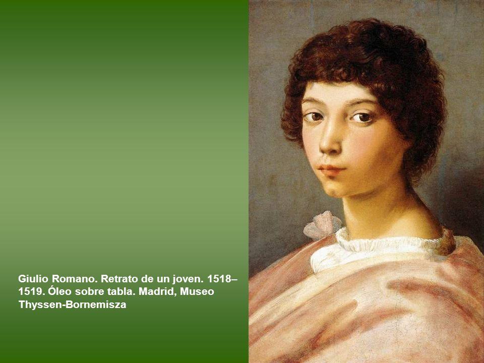 Giulio Romano. Retrato de un joven. 1518–1519. Óleo sobre tabla