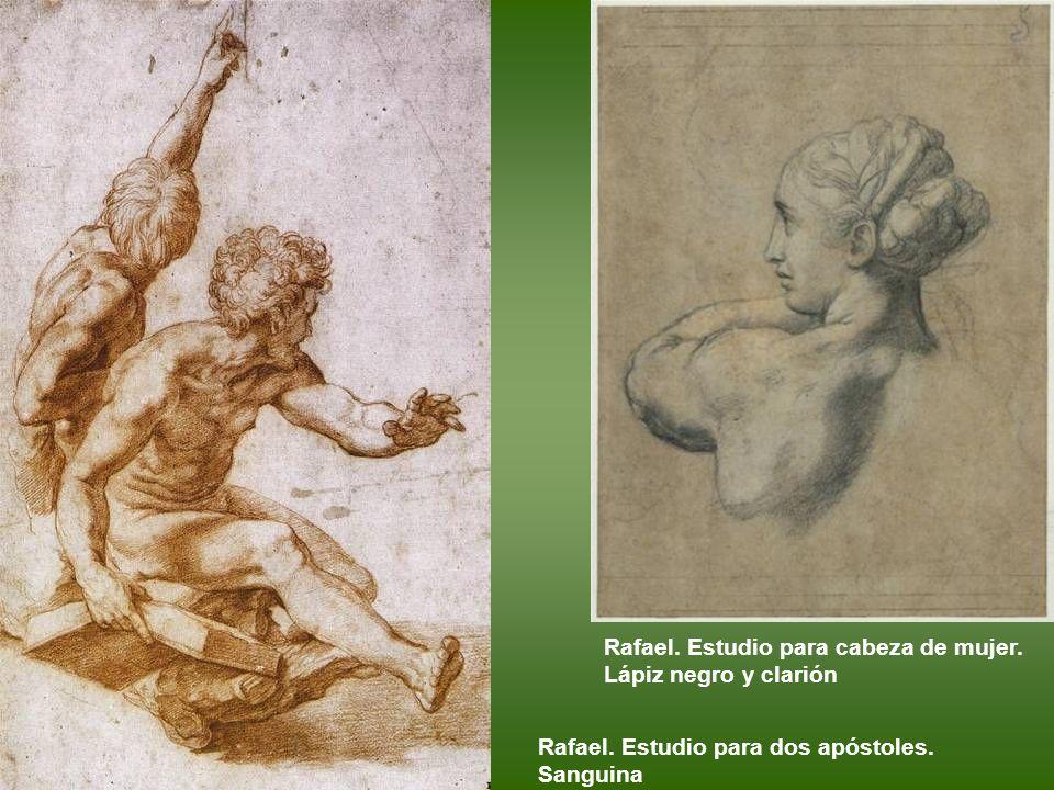 Rafael. Estudio para cabeza de mujer. Lápiz negro y clarión